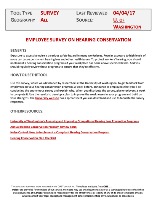 Hearing Conservation Program Template Printable Pdf Download
