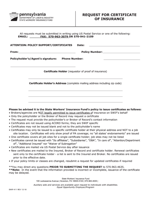 certificate of insurance request form template - form swif 411 request for certificate of insurance
