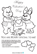 Bunny And Bear Valentine's Day Coloring Sheet