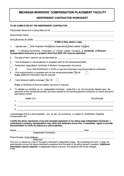 independent contractor worksheet