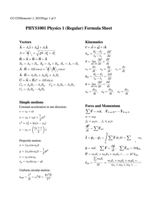 Phys1001 Physics 1 (Regular) Formula Sheet printable pdf download