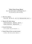 Three Note Song Sheet