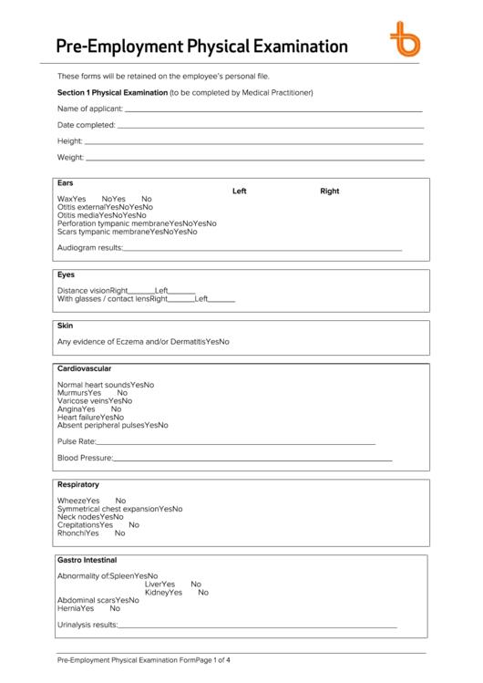 pre employment physical examination form printable pdf