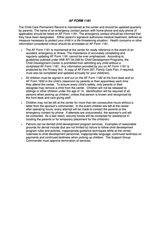 Af Form 1181 Instructions printable pdf download