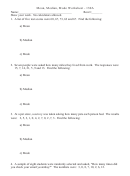 Mean, Median, Mode Worksheet