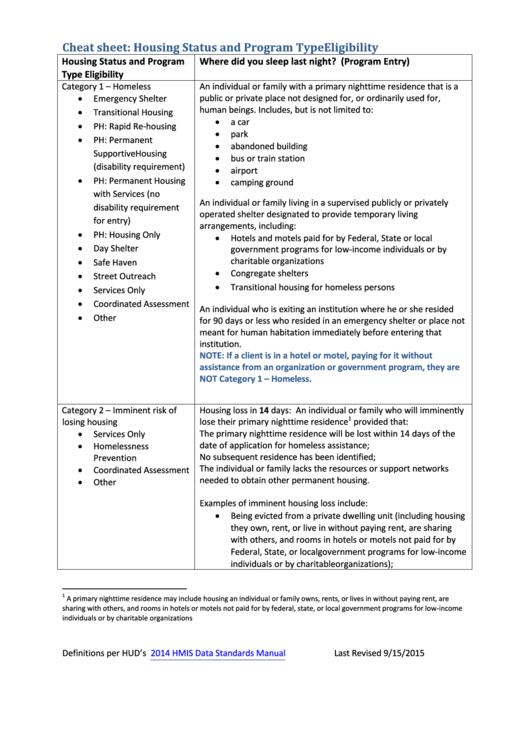 Cheat Sheet: Housing Status And Program Type Eligibility Printable pdf