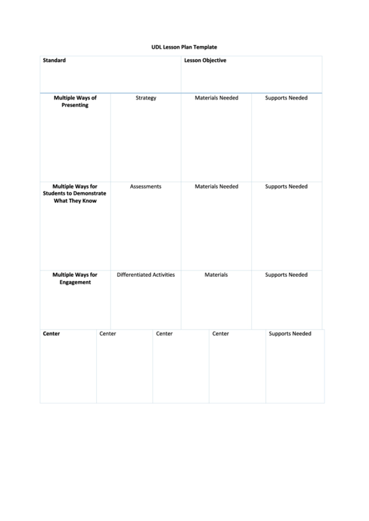 Udl Lesson Plan Template