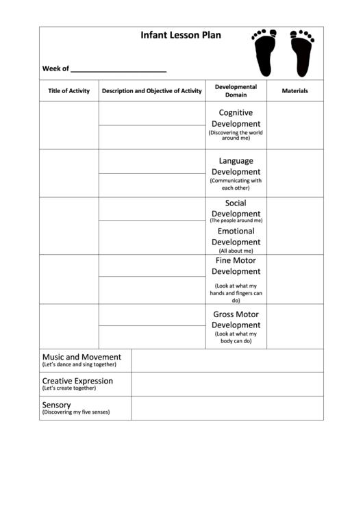 Infant Lesson Plan Printable Pdf Download