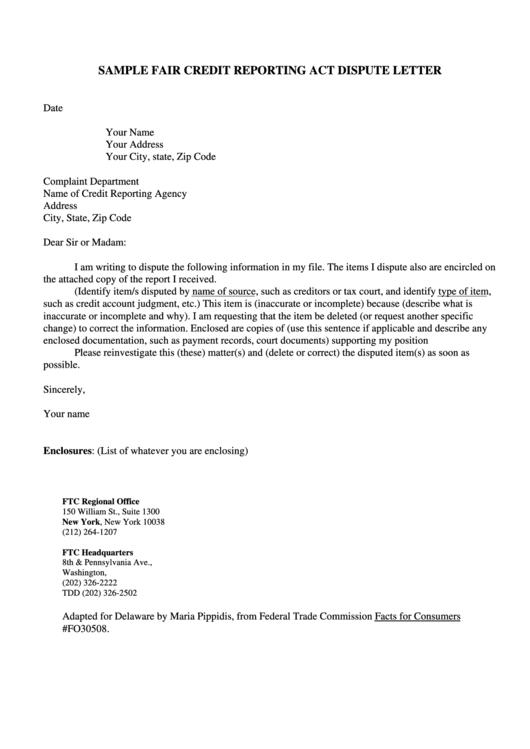 fair credit reporting act dispute letter template