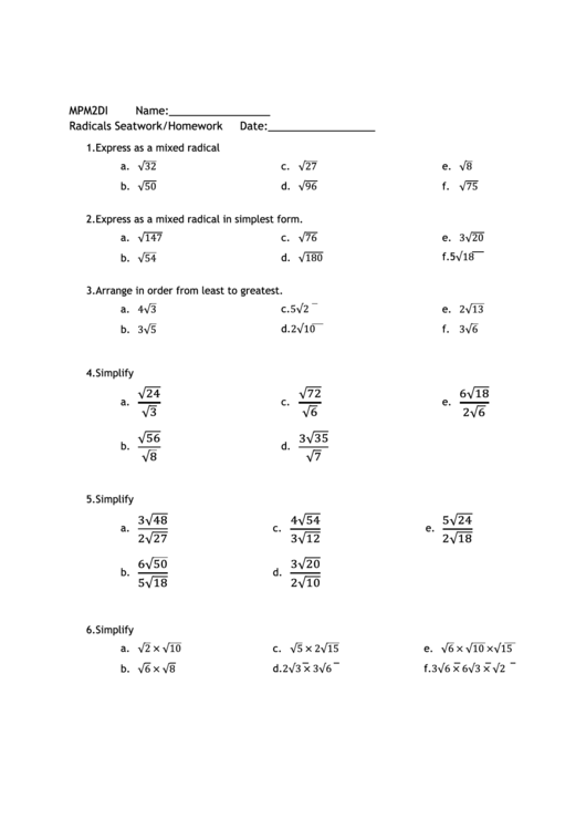 Radicals Worksheet Printable pdf