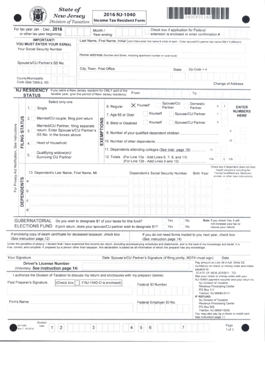 Top New Jersey Form Nj 1040 Templates Free To Download In Pdf Format