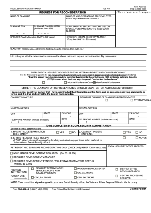 Form Ssa-561-u2 2007 - Request For Reconsideration - Social ...