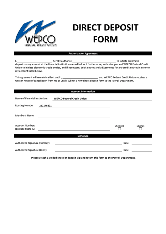 Direct Deposit Form - Wepco Federal Credit Union Printable pdf