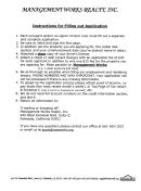 Aoaformno.100a - Applicationtorentorlease, Management Works Realty Inc. Application Form