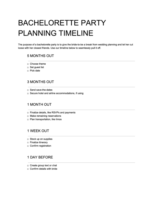 Bachelorette Party Planning Timeline