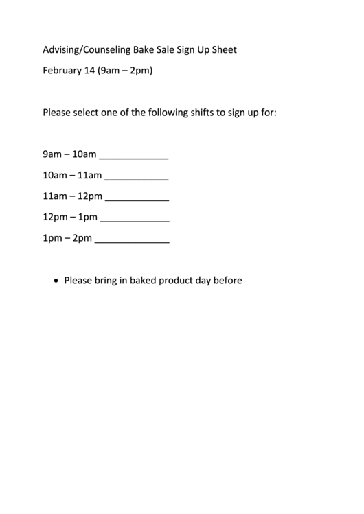 advising counseling bake sale sign up sheet printable pdf download