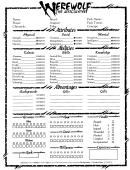 Werewolf: The Apocalypse Character Sheet