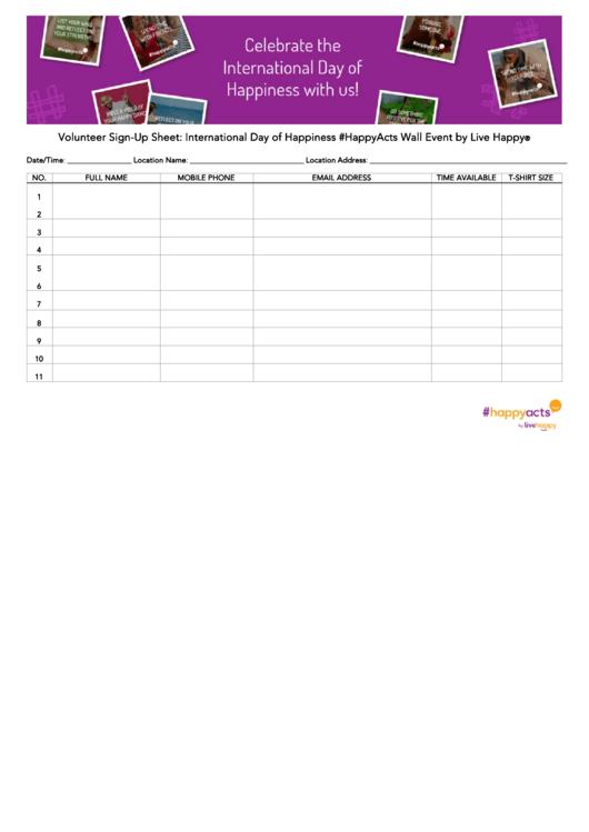 Volunteer Sign-Up Sheet: International Day Of Happiness Printable pdf