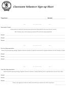 Classroom Volunteer Sign-up Sheet