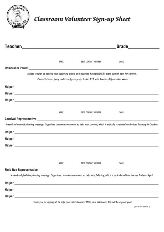 Classroom Volunteer Sign-up Sheet