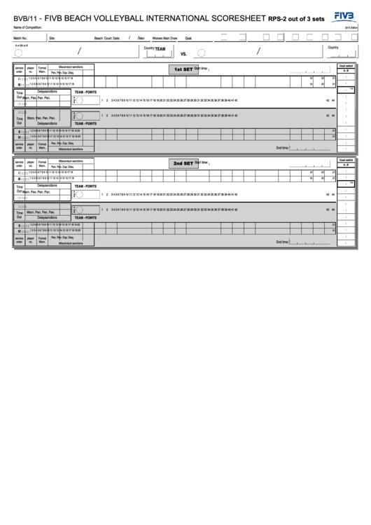 Form Bvb/11 - Fivb Beach Volleyball International Scoresheet - Federation Internationale De Volleyball - 2015