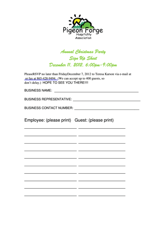 Sample Christmas Party Sign Up Sheet Template