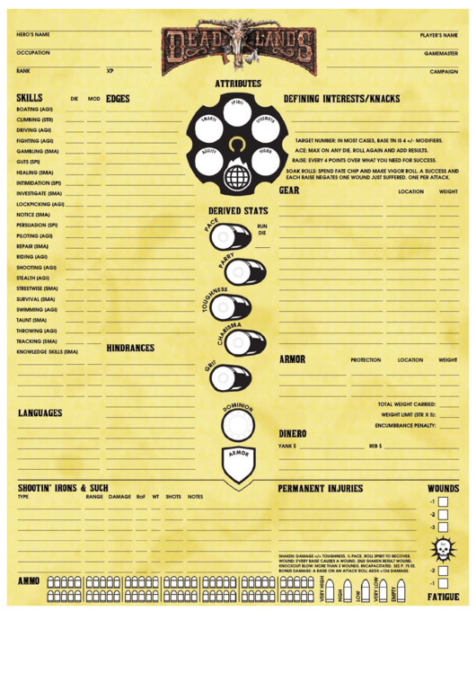 deadlands character sheet printable pdf download