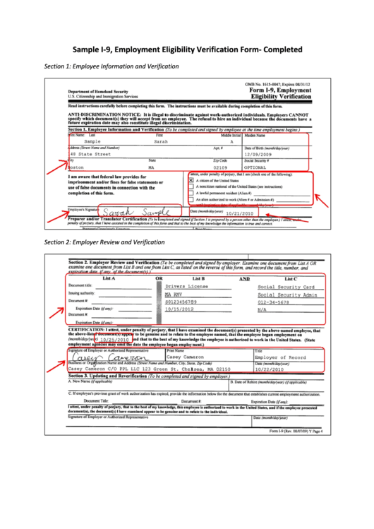photograph regarding I 9 Form Printable named Pattern I-9, Positions Eligibility Verification Type
