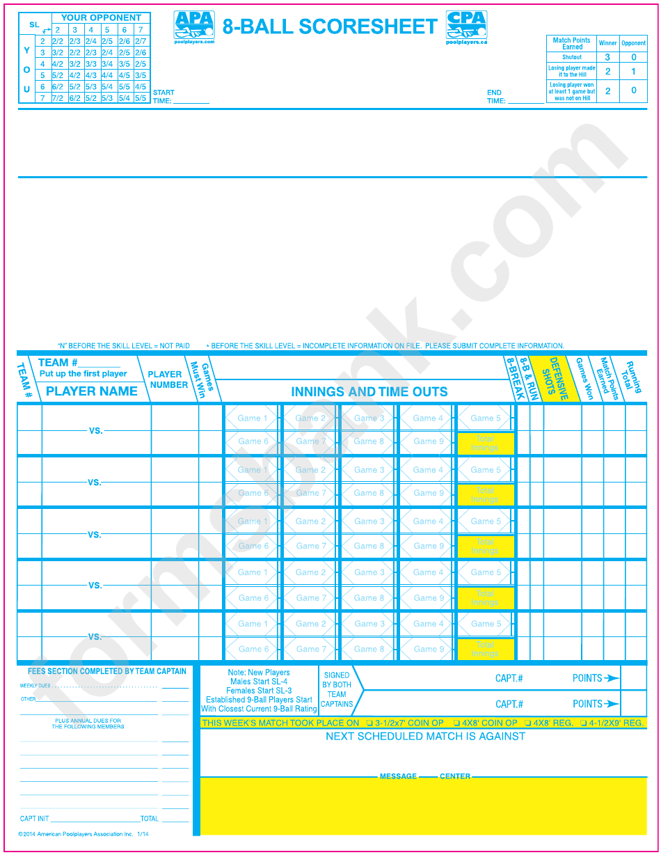 8 Ball Scoresheet American Poolplayers Association