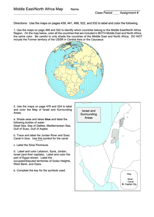 Middle East North Africa Map Worksheet Printable Pdf Download