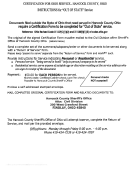 Certification For Ohio Service - Out Of State