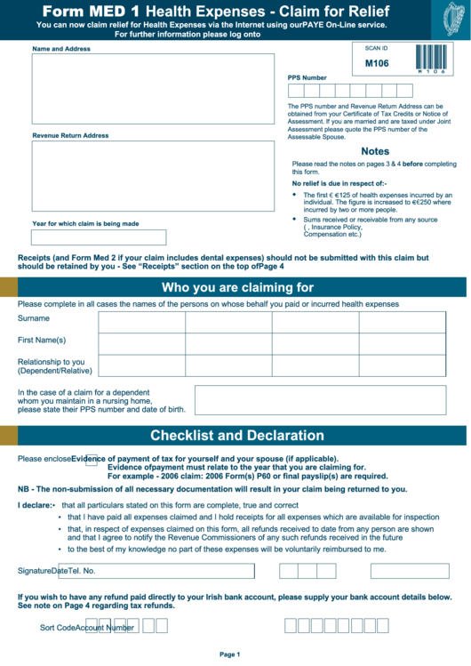 Med 1 Form - Health Expenses - Claim For Relief printable pdf download