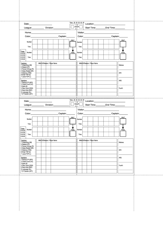 Soccer Score Sheet Printable Pdf