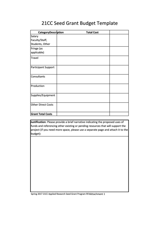 21cc Seed Grant Budget Template