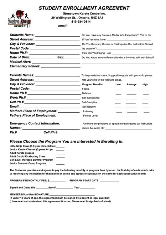 martial arts student enrollment agreement form printable. Black Bedroom Furniture Sets. Home Design Ideas