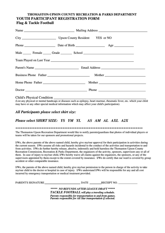 flag tackle football youth participant registration form thomaston upson county recreation. Black Bedroom Furniture Sets. Home Design Ideas