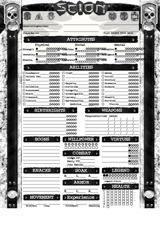 Fillable Scion Hero Character Sheet Printable Pdf Download