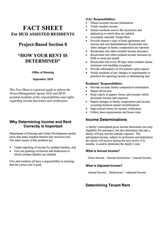Fact Sheet - Hud Printable pdf