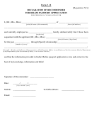 Form 3 - B - Declaration Of Recommeder For Belize Passport Application