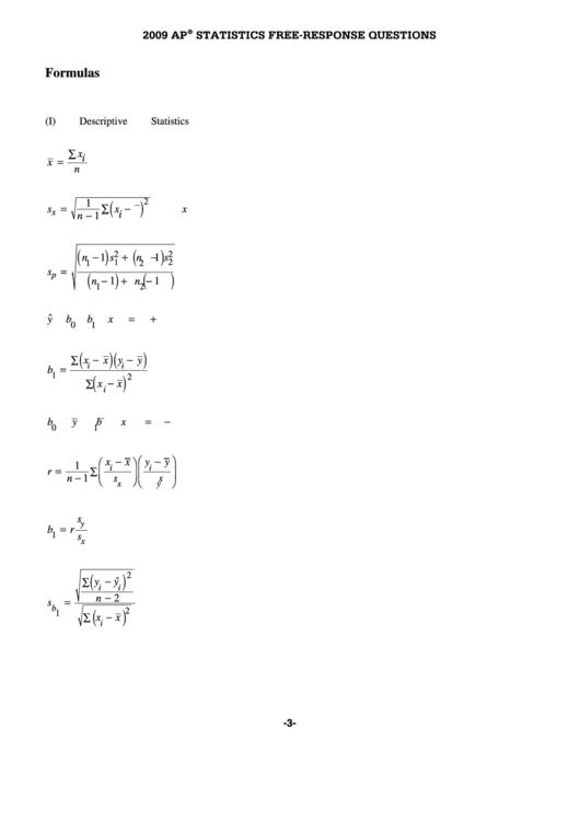 Ap Stats Formula Sheet printable pdf download