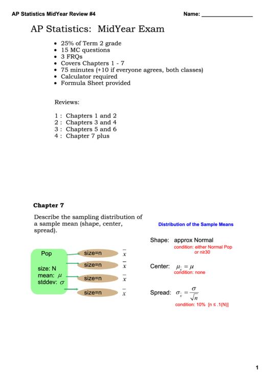 Ap Statistics: Midyear Exam