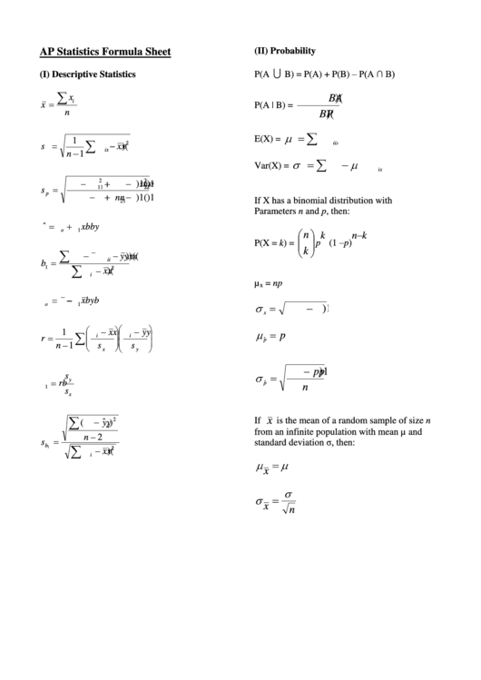 Madison : Statistics formulas pdf