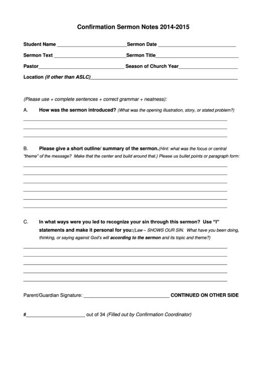 confirmation sermon notes template printable pdf download. Black Bedroom Furniture Sets. Home Design Ideas