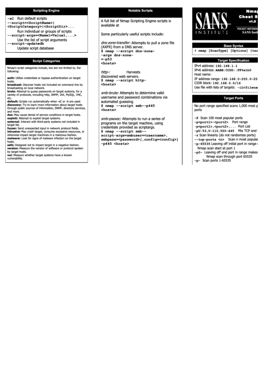 Nmap Cheat Sheet V1.0 Printable pdf