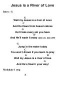 Jesus Is A River Of Love - Key: G