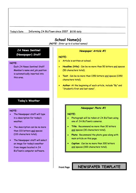 Sample School Newspaper Template