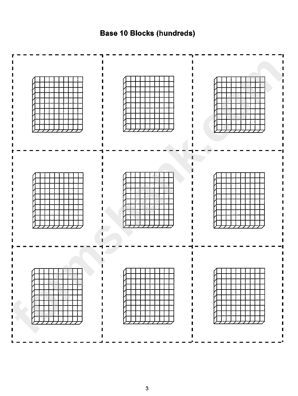 photo relating to Base 10 Blocks Printable called Foundation 10 Block Template printable pdf obtain