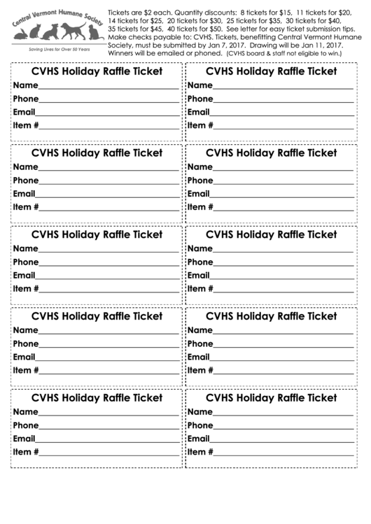 Cvhs Holiday Raffle Ticket Template