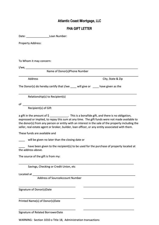 gift letter template atlantic coast mortgage llc printable pdf