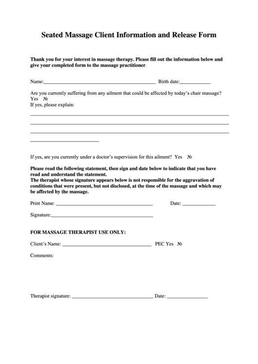 client information form template free download - top chair massage intake form templates free to download